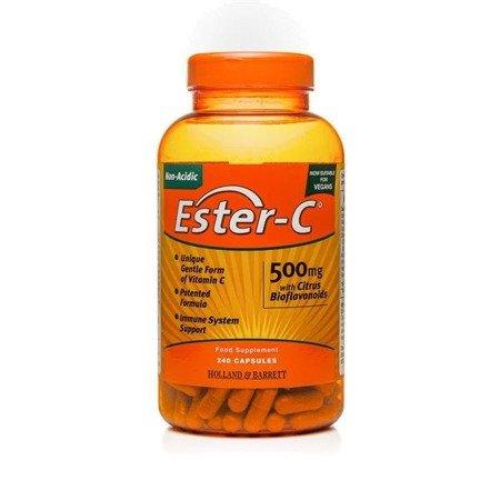 Ester C Niekwasowa Witamina C z Bioflawonoidami 500 mg 240 Kapsułek Żelowych Produkt Wegański