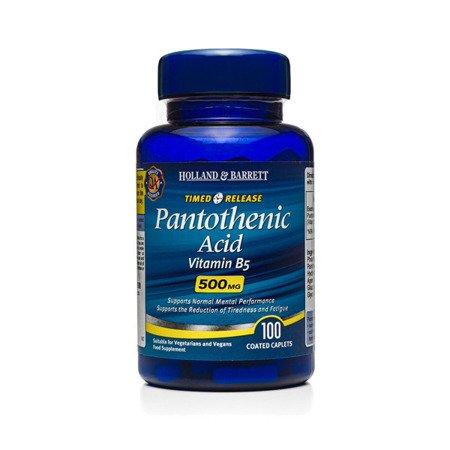 Kwas Pantotenowy 500 mg o przedłużonym uwalnianiu 100 Kapletek