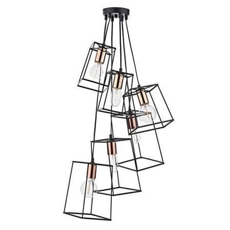 TOWER 6LT Lampa Sufitowa Kolor Czarny Miedź